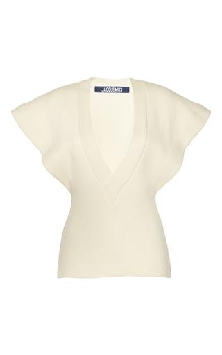 Medium jacquemus white cap sleeve ribbed blouse
