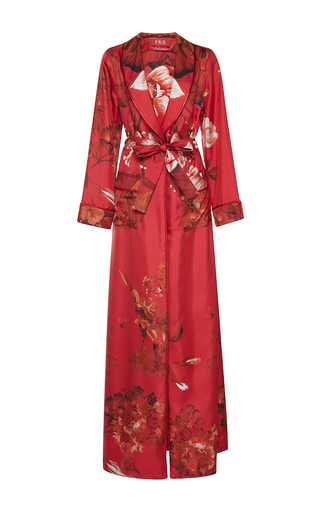 Medium for restless sleepers red bia printed silk robe
