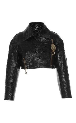 Medium ellery black punk cropped leather jacket