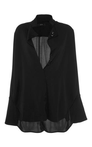Medium ellery black mona lisa button blouse