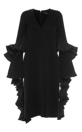 Medium ellery black molotov ruffle sleeve dress