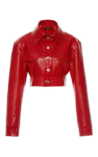Medium ellery red spiderbaby cropped leather jacket