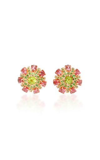 Medium carla amorim green red peridot button earrings