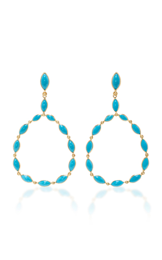 Medium carla amorim blue yellow gold and turquoise drop hoop earrings