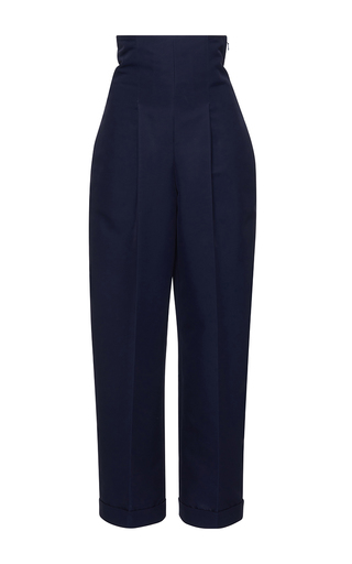 Medium salvatore ferragamo navy pleated high rise cropped trousers