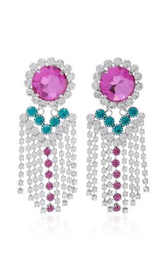 Medium alessandra rich fuchsia fuxia crystal fringe earrings