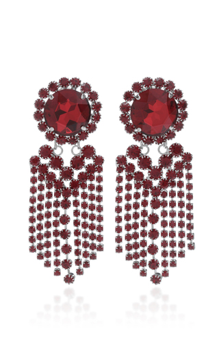 Medium alessandra rich red siam fringe earrings