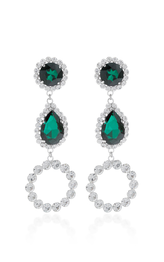 Medium alessandra rich green three drop hoop emerald crystal earrings
