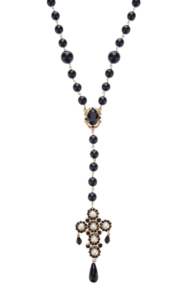 Moda operandi beaded cross pendant necklace by dolce gabbana loading aloadofball Choice Image