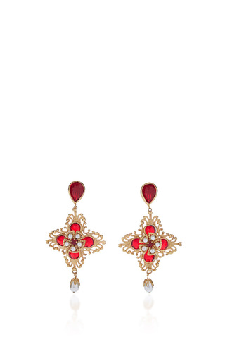 Medium dolce gabbana red red floral earrings