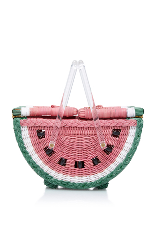 Medium charlotte olympia pink watermelon wicker basket
