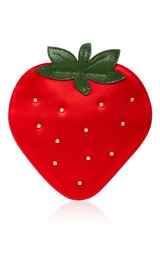 Medium charlotte olympia red crystal embellished satin strawberry clutch