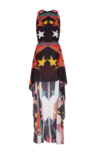 Medium elie saab print sleeveless high low stars printed dress