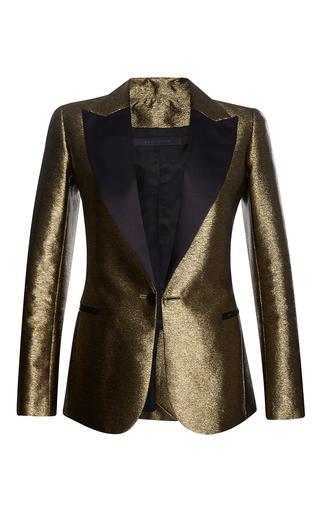Medium elie saab gold lame smocking jacket with satin collar