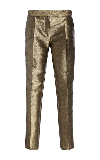 Medium elie saab gold straight legged lame pants