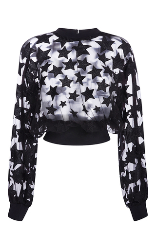 Medium elie saab black long sleeved sweater with stars yarn embroidery and knit ribs