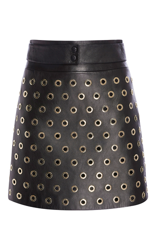 Medium elie saab black leather mini skirt with metal eyelet detail