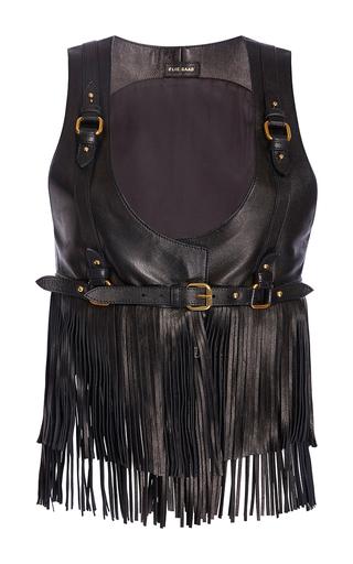 Medium elie saab black leather fringe top with harness