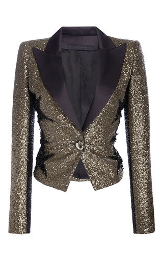 Medium elie saab gold smocking jacket in paillettes with stars