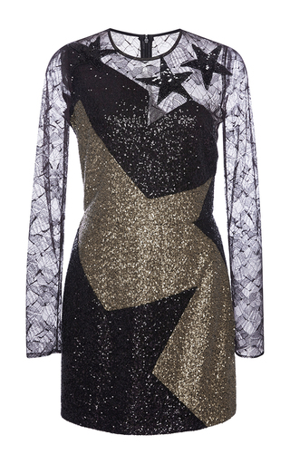 Medium elie saab multi black and gold paillettes mini star dress