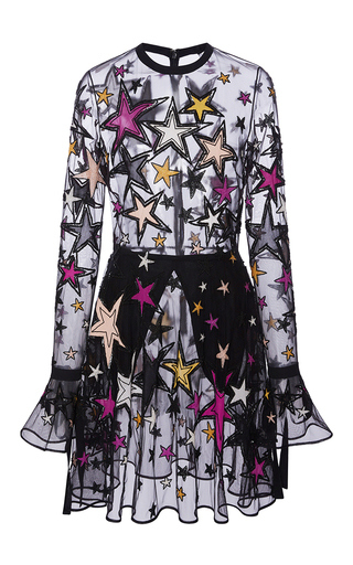 Medium elie saab multi long sleeved mini dress with embroidered multicolor stars