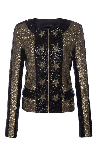 Medium elie saab multi zipped paillettes jacket with stars applications