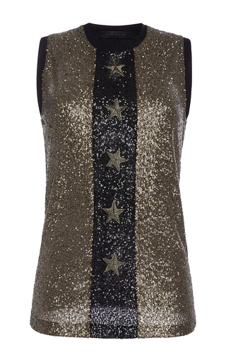 Medium elie saab multi sleeveless top in paillettes with gold star applications