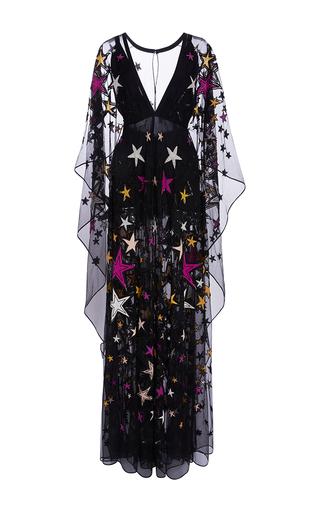 Medium elie saab multi long kaftan dress with embroidered multicolor stars