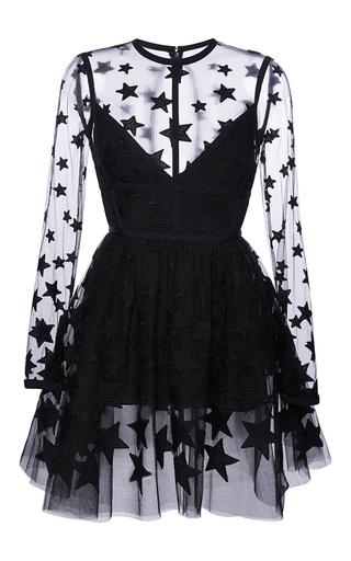 Medium elie saab black long sleeved short dress with star yarn embroidery