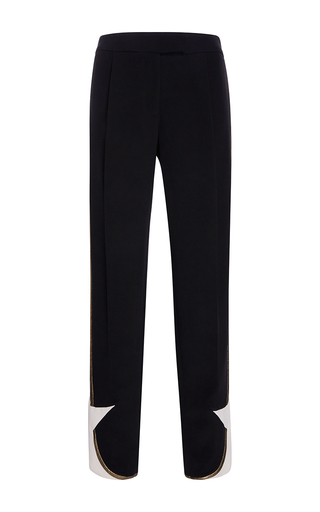 Medium elie saab black star straight legged pant
