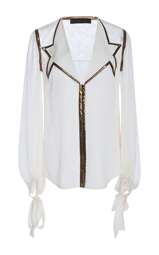 Medium elie saab white fluid knotted gold bias top