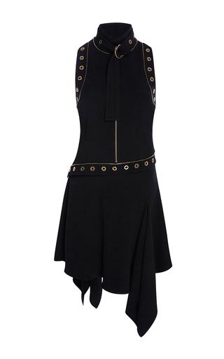 Medium elie saab black sleeveless asymmetric short dress with eyelets decoration