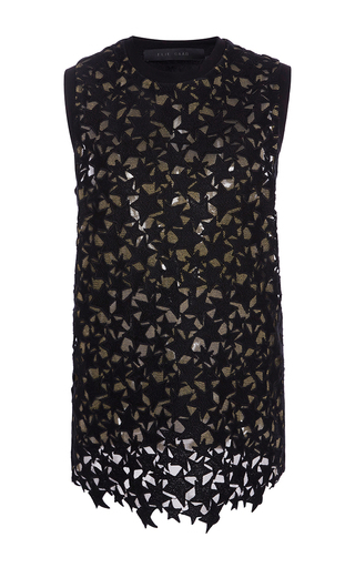 Medium elie saab black sleeveless stars macrame top