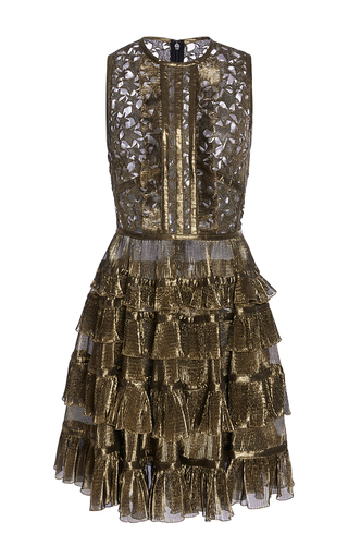 Medium elie saab gold short gold dress with ruffles and stars macrame