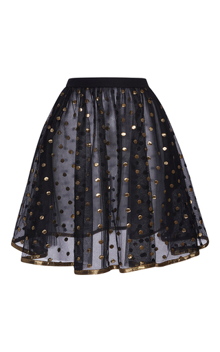 Medium elie saab black short skirt with gold dots embroidered on tulle and gold bias