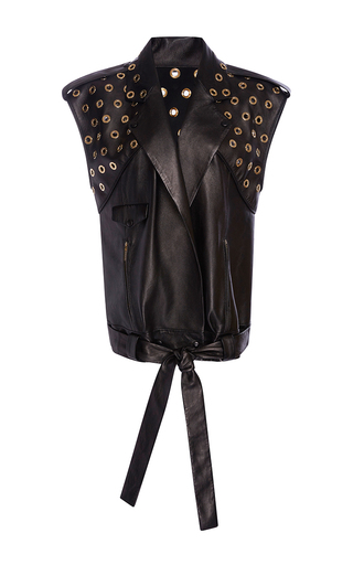 Medium elie saab black sleeveless loose perfecto jacket