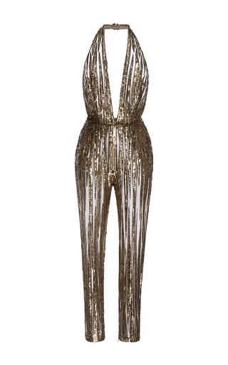 Medium elie saab gold sleeveless straight legged embroidered jumpsuit
