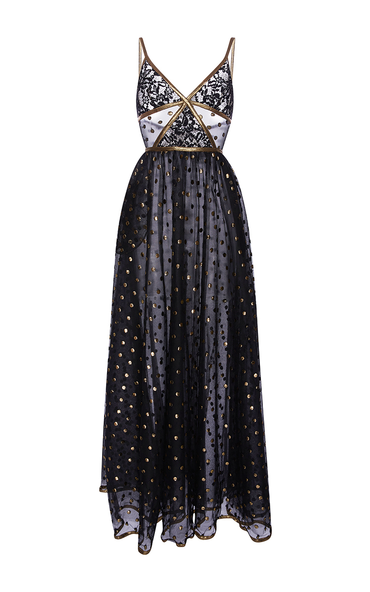 Lace Maxi Dress With Gold Embroidered Detail By Elie