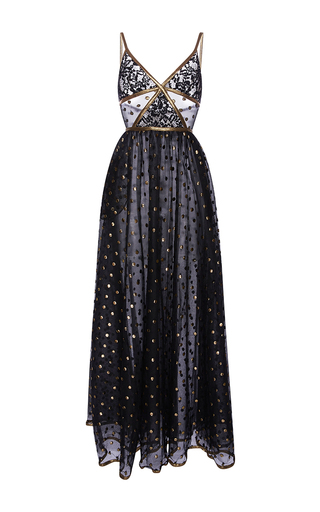 Medium elie saab black lace maxi dress with gold embroidered detail