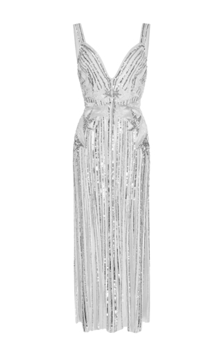Medium elie saab metallic embroidered strappy maxi dress