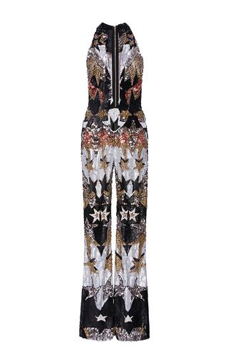 Medium elie saab metallic sleeveless stars embroidered flared jumpsuit with deep v neck