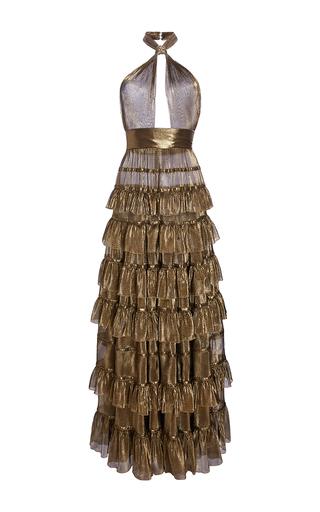 Medium elie saab gold tiered flounced halter neck maxi dress