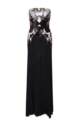 Medium elie saab black strapless long fluid dress with stars embroidered top