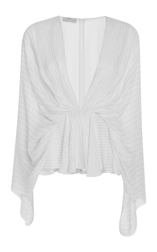 Medium elie saab white lurex stripped top with kimono sleeves