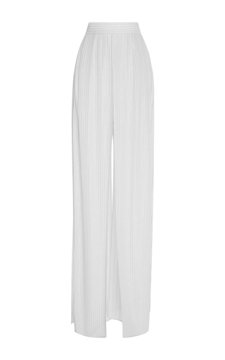 Medium elie saab white large lurex stripped pants
