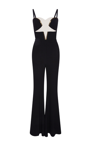 Medium elie saab white flared pant star jumpsuit with cape