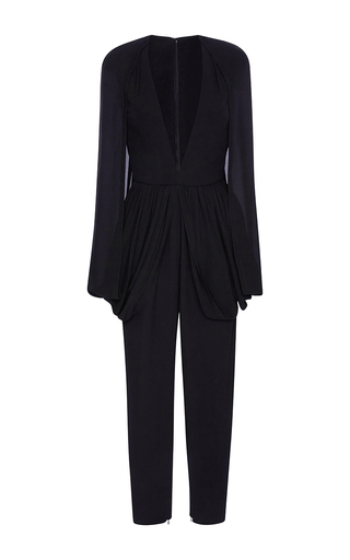 Medium elie saab black straight legged jumpsuit with deep v neck