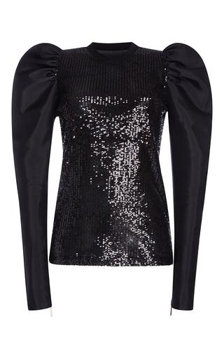 Medium elie saab black paillettes top with twill organdi juliet sleeves