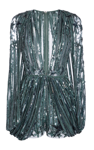 Medium elie saab metallic long sleeves plunging v neck embroidered jumpsuit