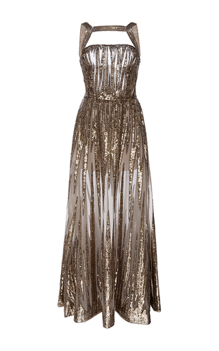 Medium elie saab gold embroidered sequin a line dress